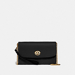 CHAIN CROSSBODY IN SIGNATURE LEATHER - F24469 - BLACK/GOLD