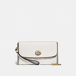 CHAIN CROSSBODY IN SIGNATURE LEATHER - f24469 - CHALK/light gold