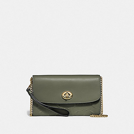 COACH F24469 CHAIN CROSSBODY IN SIGNATURE LEATHER MILITARY GREEN/GOLD