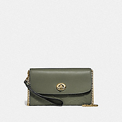 COACH F24469 - CHAIN CROSSBODY IN SIGNATURE LEATHER MILITARY GREEN/GOLD