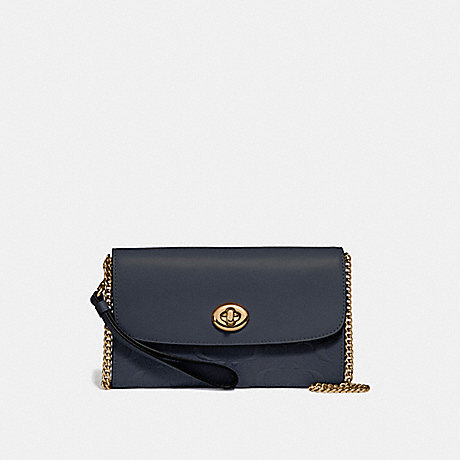 COACH f24469 CHAIN CROSSBODY IN SIGNATURE LEATHER MIDNIGHT/LIGHT GOLD