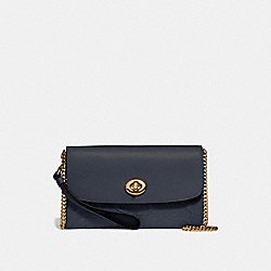 COACH CHAIN CROSSBODY IN SIGNATURE LEATHER - MIDNIGHT/LIGHT GOLD - F24469