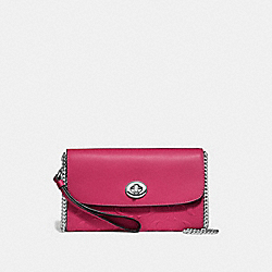 CHAIN CROSSBODY IN SIGNATURE LEATHER - F24469 - HOT PINK/SILVER