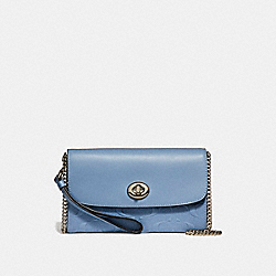 COACH F24469 Chain Crossbody In Signature Leather SILVER/POOL