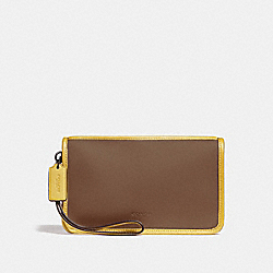 COACH F24470 Large Wristlet SADDLE 2/CANARY/BLACK ANTIQUE NICKEL