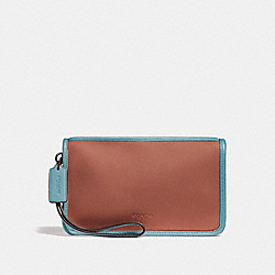 LARGE WRISTLET - f24470 - TERRACOTTA/BLUE GREEN/BLACK ANTIQUE NICKEL