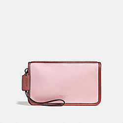 COACH F24470 Large Wristlet BLUSH/TERRACOTTA/BLACK ANTIQUE NICKEL