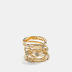 DEMI-FINE TEA ROSE STACKED RING - f24497 - GOLD