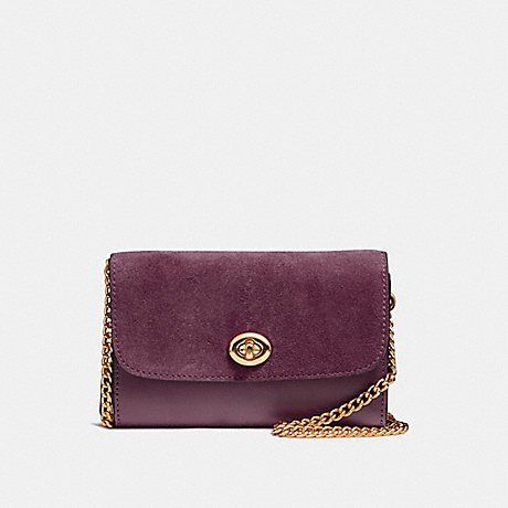 COACH f24498 FLAP PHONE CHAIN CROSSBODY LIGHT GOLD/OXBLOOD 1
