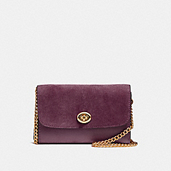 COACH FLAP PHONE CHAIN CROSSBODY - LIGHT GOLD/OXBLOOD 1 - F24498