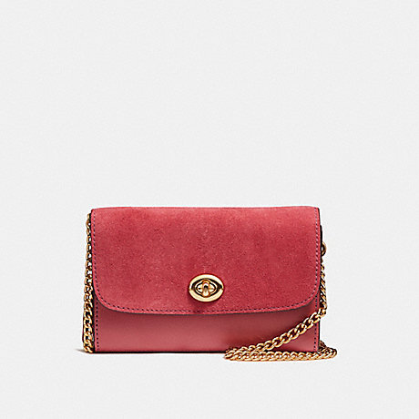 COACH f24498 FLAP PHONE CHAIN CROSSBODY<br>蔻驰瓣电话链中包包 光金/ROUGE