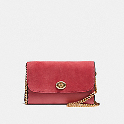 COACH F24498 Flap Phone Chain Crossbody LIGHT GOLD/ROUGE