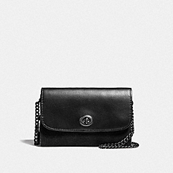FLAP PHONE CHAIN CROSSBODY - f24498 - MATTE BLACK/BLACK