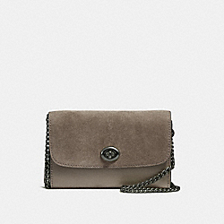 COACH F24498 Flap Phone Chain Crossbody BLACK ANTIQUE NICKEL/FOG