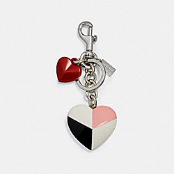CHECKER HEART BAG CHARM - f24546 - MULTI/SILVER