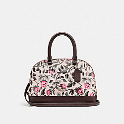 MINI SIERRA SATCHEL WITH SLEEPING ROSE PRINT - f24547 - SILVER/MULTI