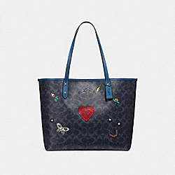 COACH F24592 - CITY TOTE IN SIGNATURE CANVAS WITH SOUVENIR EMBROIDERY SILVER/DENIM