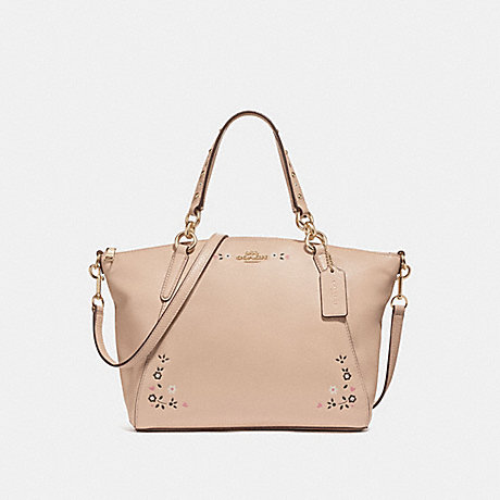 COACH f24599 SMALL KELSEY SATCHEL WITH FLORAL TOOLING<br>蔻驰小凯尔包包花工具 裸体粉红色,亮黄金