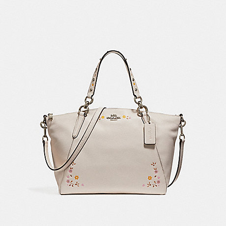 COACH f24599 SMALL KELSEY SATCHEL WITH FLORAL TOOLING SILVER/CHALK