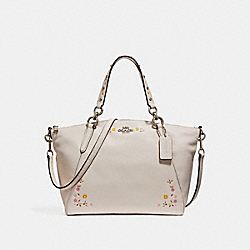 COACH SMALL KELSEY SATCHEL WITH FLORAL TOOLING - SILVER/CHALK - F24599