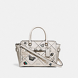 COACH F24600 - BLAKE CARRYALL 25 WITH SOUVENIR EMBROIDERY PATCHWORK SILVER/CHALK