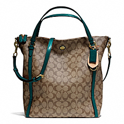 COACH F24601 Peyton Signature Convertible Shoulder Bag BRASS/KHAKI/JADE
