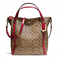 COACH F24601 - PEYTON SIGNATURE CONVERTIBLE SHOULDER BAG BRASS/KHAKI/RED