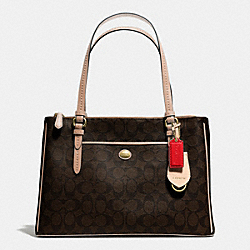 COACH F24603 - PEYTON SIGNATURE JORDAN DOUBLE ZIP CARRYALL BRASS/BROWN/TAN