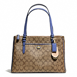 COACH F24603 Peyton Signature Jordan Double Zip Carryall BRASS/KHAKI/PORCELAIN BLUE