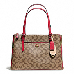COACH F24603 - PEYTON SIGNATURE JORDAN DOUBLE ZIP CARRYALL BRASS/KHAKI/RED