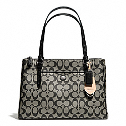 COACH F24603 - PEYTON SIGNATURE JORDAN DOUBLE ZIP CARRYALL SILVER/BLACK/WHITE/BLACK