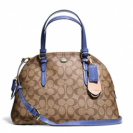 COACH F24606 PEYTON SIGNATURE CORA DOMED SATCHEL BRASS/KHAKI/PORCELAIN-BLUE