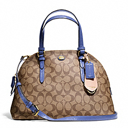 PEYTON SIGNATURE CORA DOMED SATCHEL - f24606 - BRASS/KHAKI/PORCELAIN BLUE
