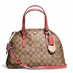 COACH F24606 Peyton Signature Cora Domed Satchel BRASS/KHAKI/CORAL