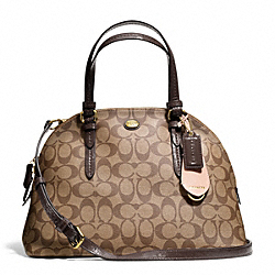COACH F24606 Peyton Signature Cora Domed Satchel BRASS/KHAKI/MAHOGANY