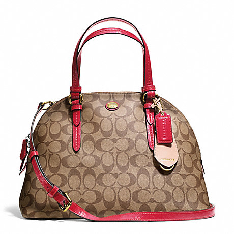 COACH f24606 PEYTON SIGNATURE CORA DOMED SATCHEL BRASS/KHAKI/RED