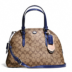 COACH F24606 Peyton Signature Cora Domed Satchel SILVER/KHAKI/NAVY