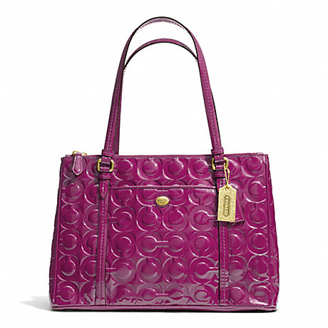 COACH f24607 PEYTON OP ART EMBOSSED PATENT JORDAN DOUBLE ZIP CARRYALL BRASS/PASSION BERRY