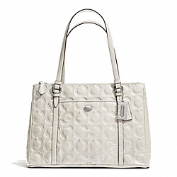 COACH F24607 - PEYTON OP ART EMBOSSED PATENT JORDAN DOUBLE ZIP CARRYALL SILVER/IVORY
