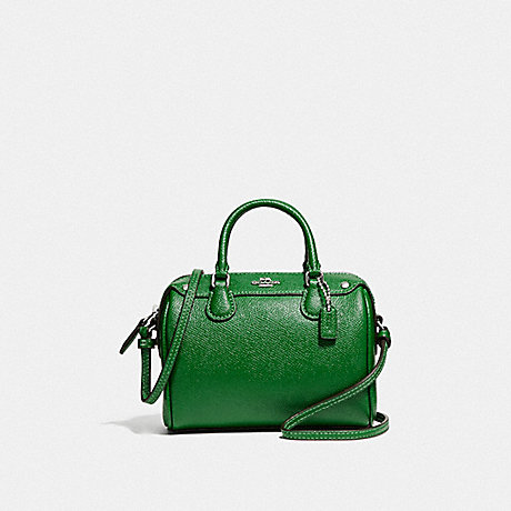 COACH f24627 MICRO MINI BENNETT SATCHEL SILVER/KELLY GREEN