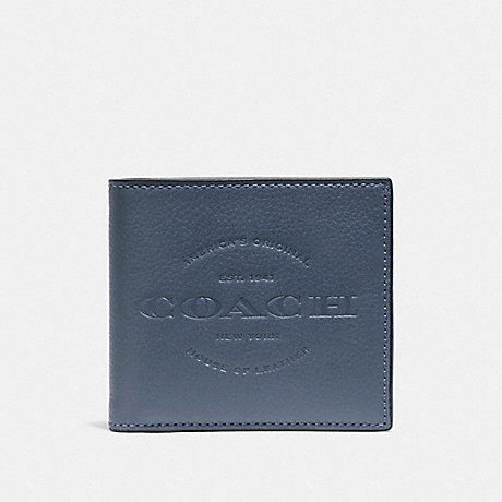 COACH f24647 DOUBLE BILLFOLD WALLET DENIM