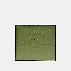 COACH F24647 Double Billfold Wallet DARK OLIVE/BLACK ANTIQUE NICKEL