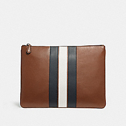 COACH LARGE POUCH WITH VARSITY STRIPE - SADDLE/MIDNIGHT NVY/CHALK - F24658
