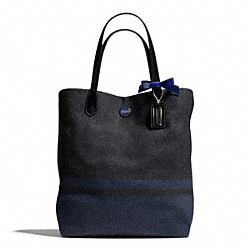 COACH F24665 - SIGNATURE STRIPE WOOL STRIPE NORTH/SOUTH TOTE SILVER/CHARCOAL/COBALT