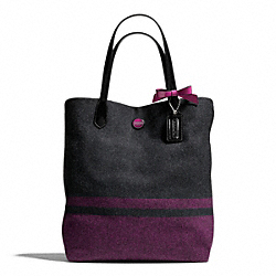 COACH F24665 - SIGNATURE STRIPE WOOL STRIPE NORTH/SOUTH TOTE SILVER/CHAR/PASSION BERRY