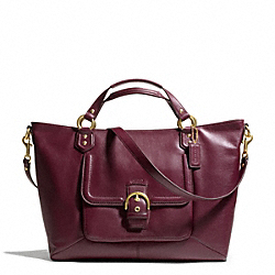 COACH F24683 Campbell Leather Izzy Fashion Satchel BRASS/BORDEAUX
