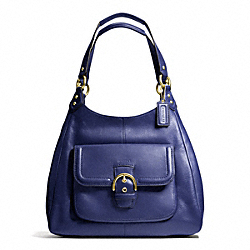 CAMPBELL LEATHER HOBO - f24686 - BRASS/MARINE NAVY