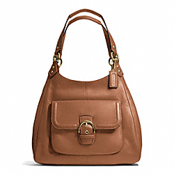 CAMPBELL LEATHER HOBO - f24686 - BRASS/SADDLE