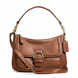 CAMPBELL LEATHER SMALL CONVERTIBLE HOBO - f24687 - BRASS/SADDLE