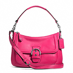 COACH F24687 - CAMPBELL LEATHER SMALL CONVERTIBLE HOBO SILVER/POMEGRANATE
